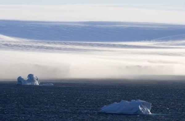 viento catabático en la Antártida