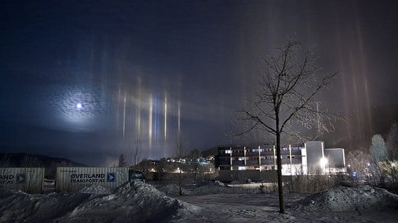 Pilares de luz en Suecia