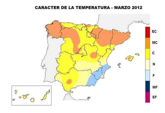 Temperaturas Marzo 2012