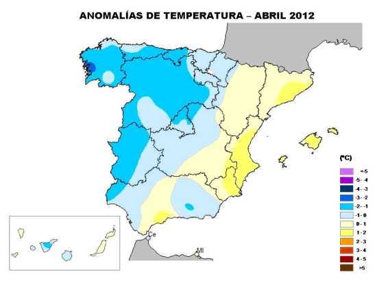 Anomalía de temperatura en Abril 2012