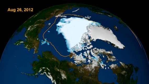 Mínimo de hielo ártico en Agosto