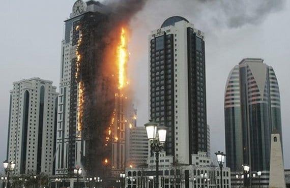 Rascacielos Grozni incendio