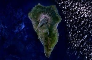 Vista aérea Isla de la Palma y Cumbre Vieja