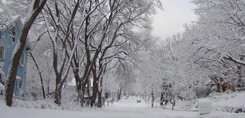 Calle con varios centímetros de nieve