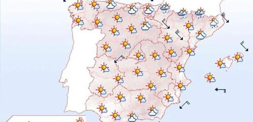 Previsión meteorológica para España del 12/5/2014