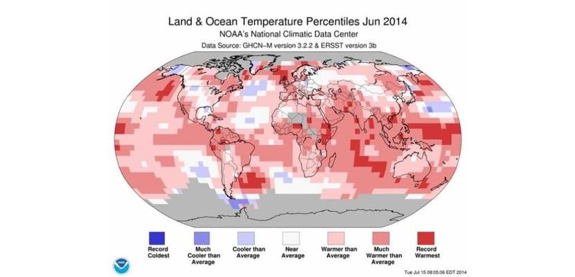Gráfico de temperaturas globales para junio de 2014 de NOAA