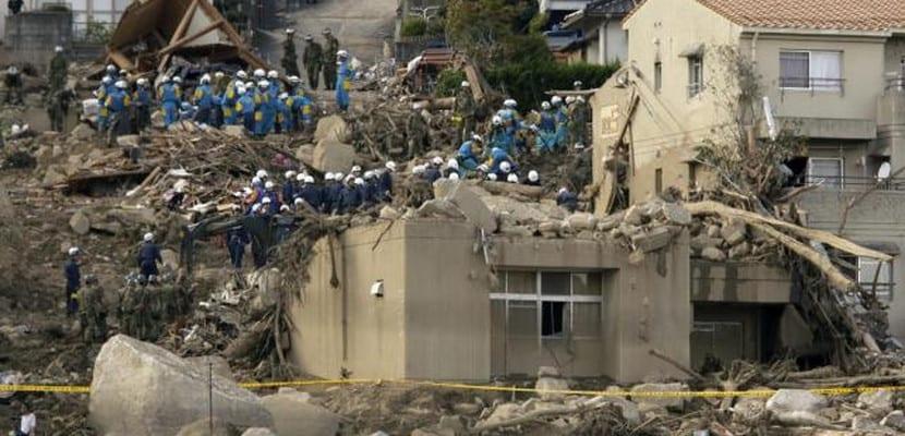 Viviendas destrozadas por las lluvias torrenciales caídas en Hiroshima (Japón)