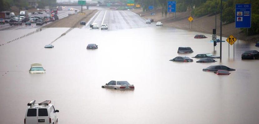 Carretera inundada en Arizona
