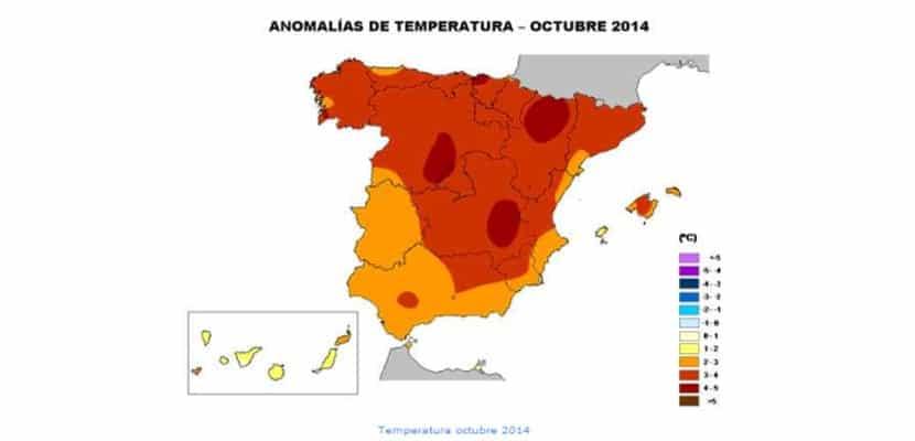Anomalías de temperatura en octubre
