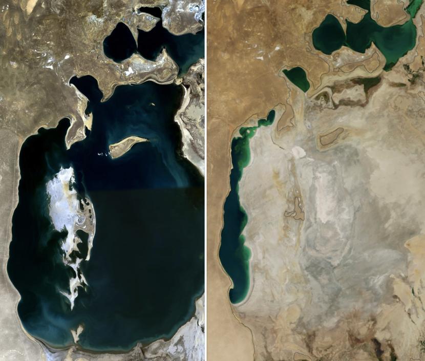Mar Aral en el 1989 y en el 2014