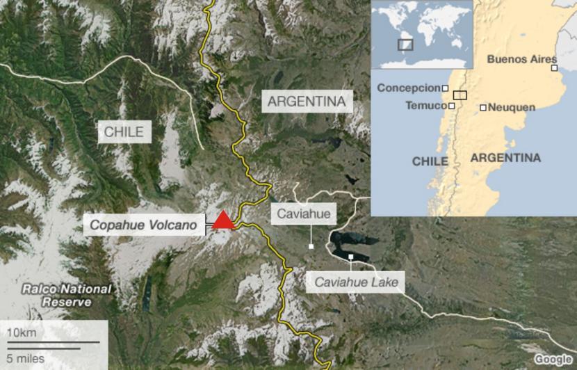 Ubicación del volcán Copahue