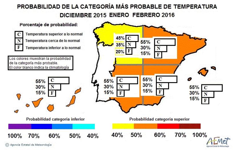 Precipitaciones y temperaturas del invierno 2016