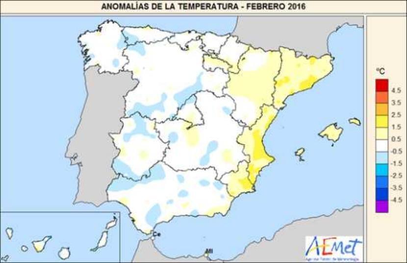 Temperaturas en febrero 2016