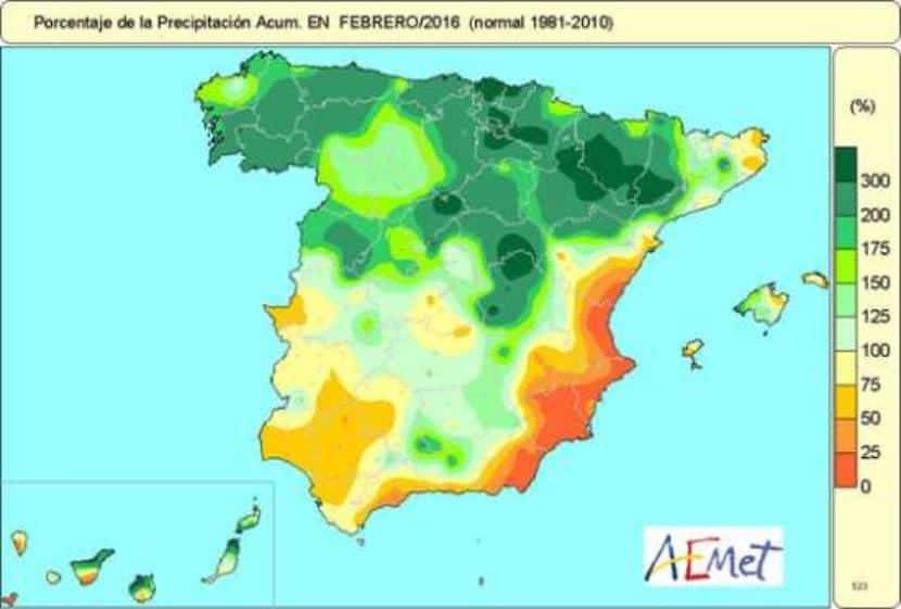Precipitación febrero 2016