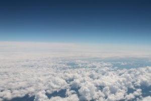 Nubes Cumulus vistas desde un avión.