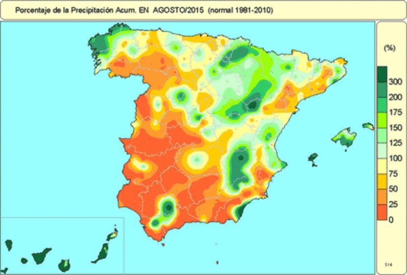 Precipitación en agosto