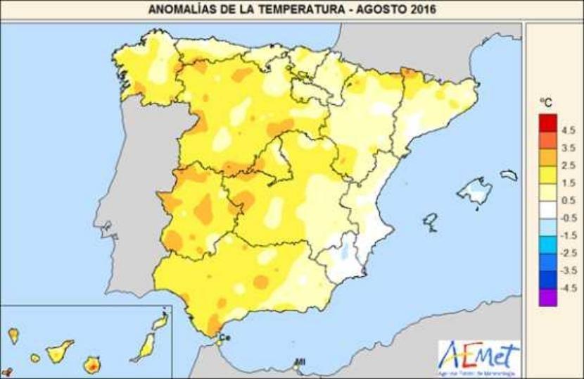 Temperaturas en agosto