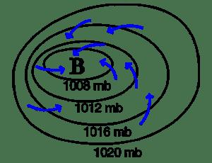 Una borrasca en un mapa de presiones atmosféricas