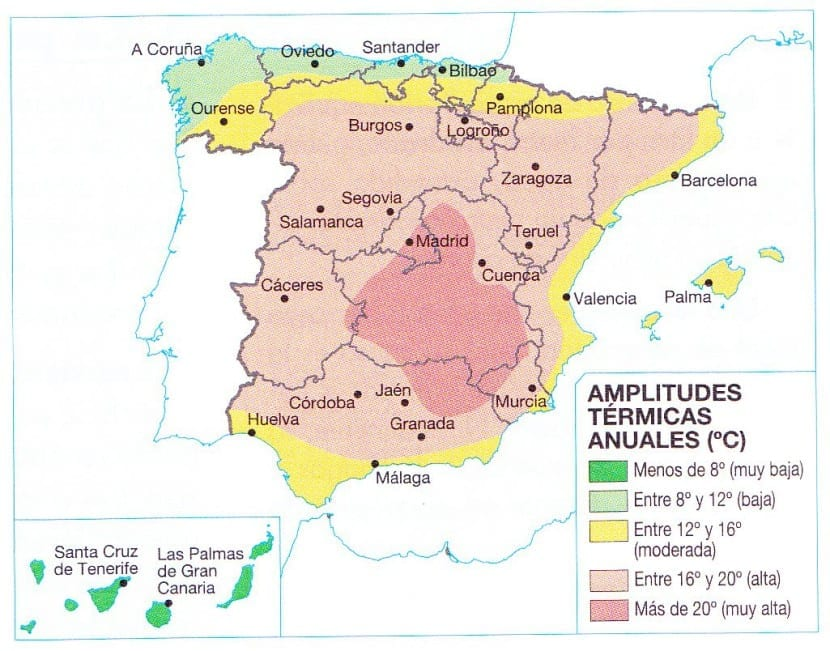Mapa de amplitudes térmicas de España