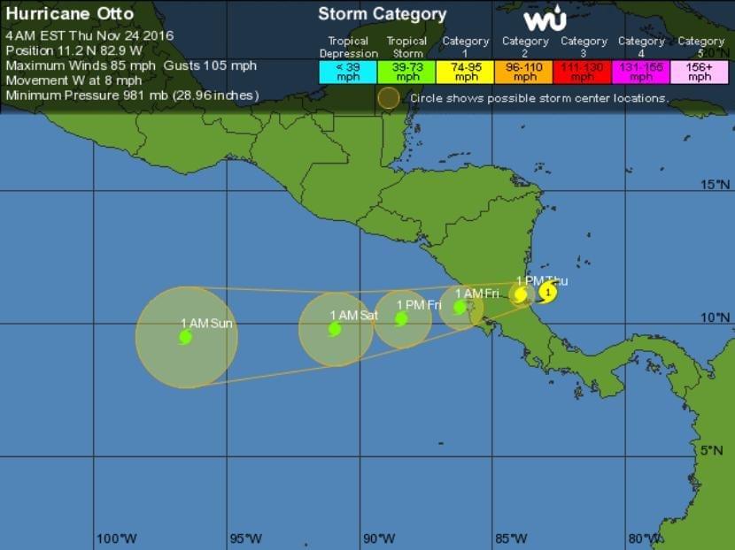 Posible trayectoria del huracán Otto. Imagen - Wunderground.com