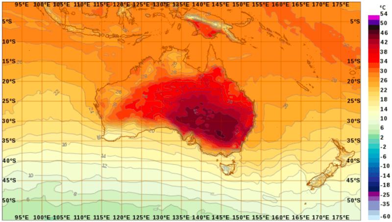 Temperaturas en Australia