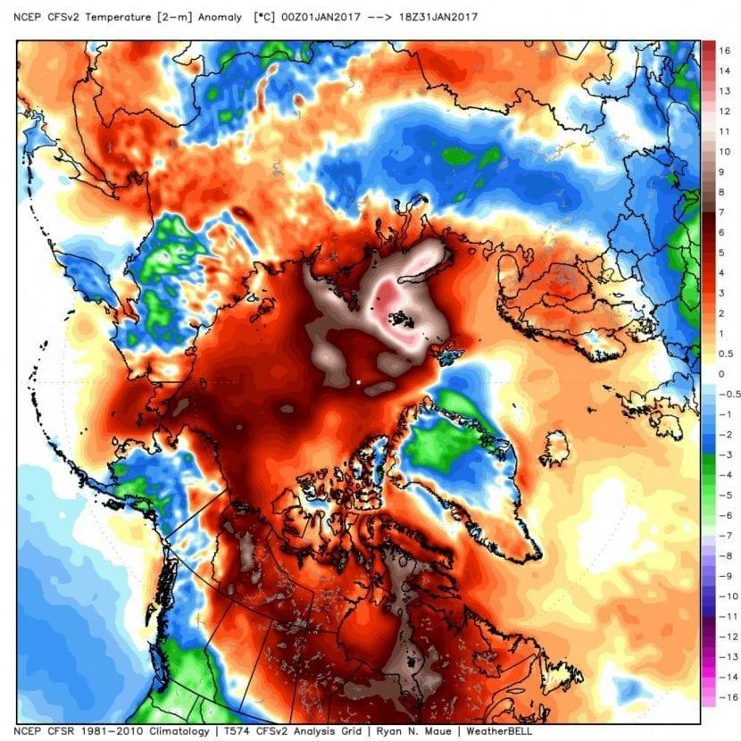 Temperaturas anómalas en el artico en enero