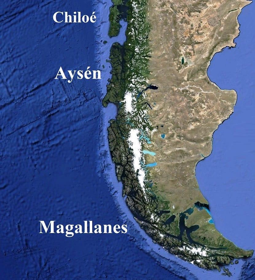 mapa de la zona austral de chile