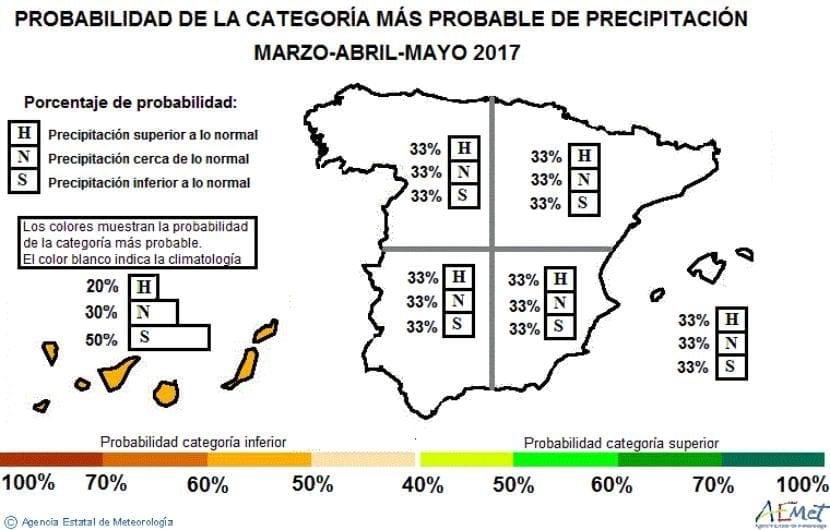 Anomalía de precipitación en la primavera 2017