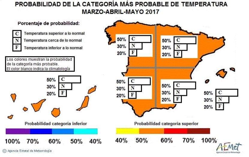 Anomalía de temperatura en la primavera 2017