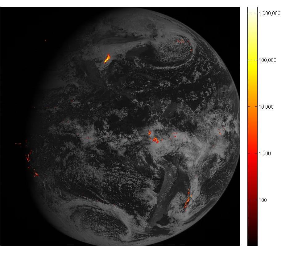Satélite GOES-16 muestra los relámpagos