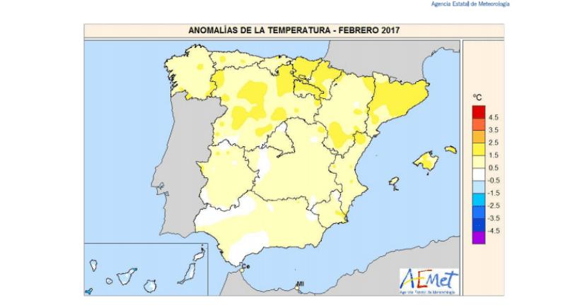 Temperatura en España durante el mes de febrero
