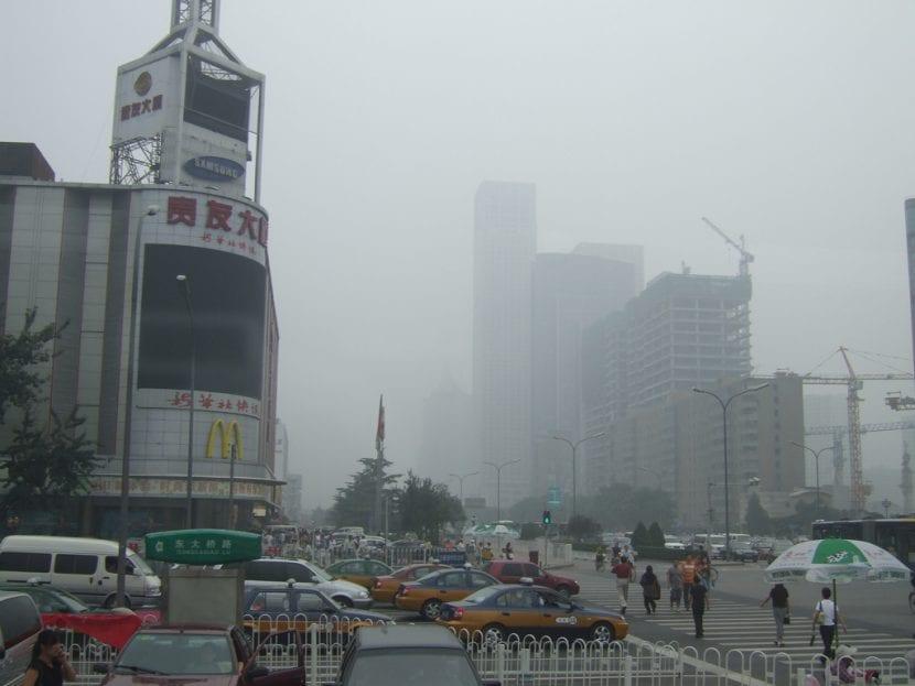 Smog en la ciudad de Beijing, China