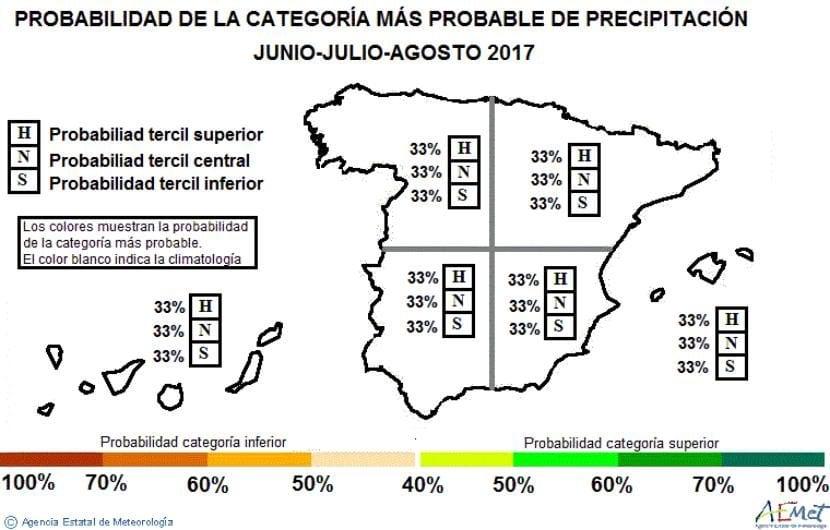 Anomalía de precipitación para el verano 2017