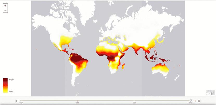 Mapa de lugares vulnerables a las olas de calor letales