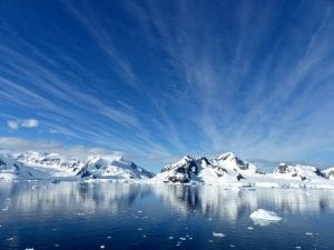 Vista de un paisaje de la Antártida