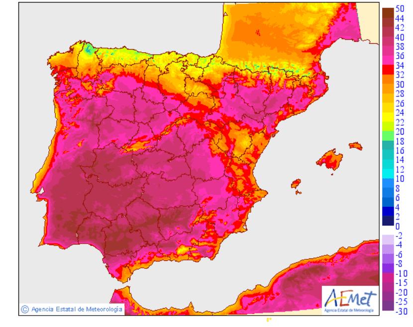 Temperaturas previstas para el viernes 16 de junio 2017
