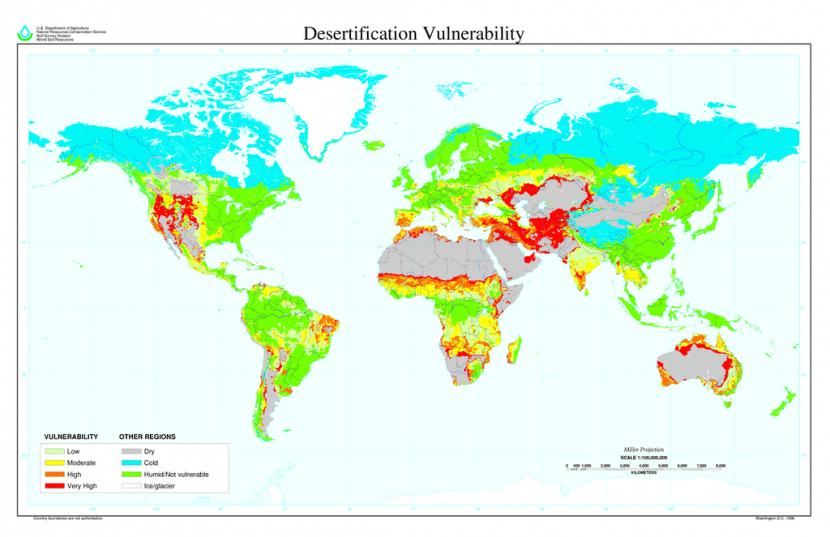 Mapa en el que se ven las zonas más vulnerables a la desertificación
