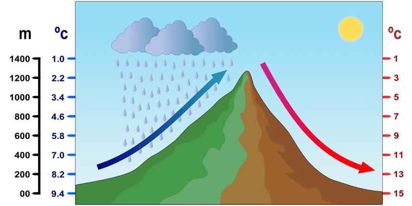 la masa de aire caliente asciende y pierde la humedad