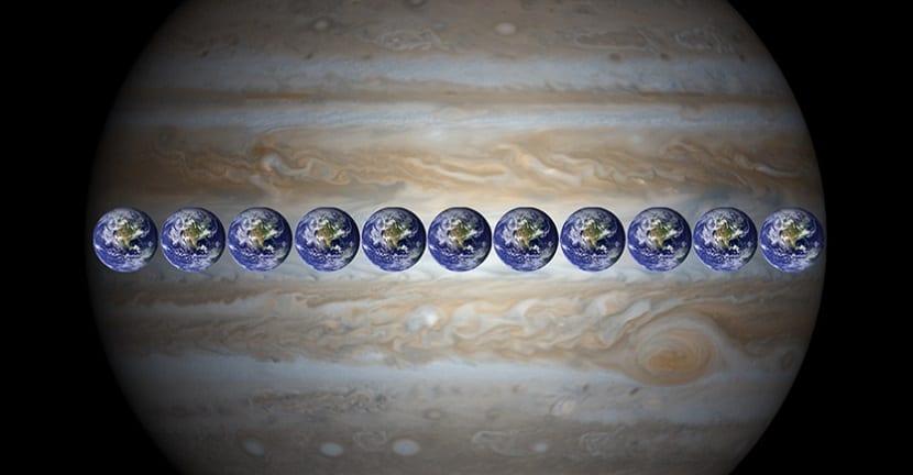 Júpiter comapración Tierra