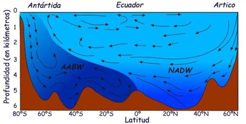 las corrientes marinas profundas son más lentas