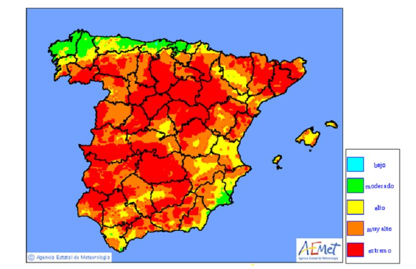 riesgo incendios agosto día 18 España