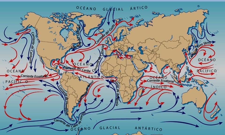 todas las corrientes marinas que existen