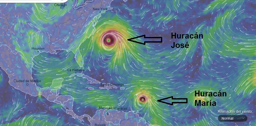 Huracán María mapa vientos