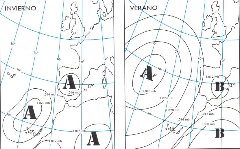 el anticiclón de los Azores afecta a la península Ibérica