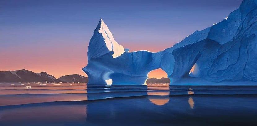 hielo iceberg atardecer