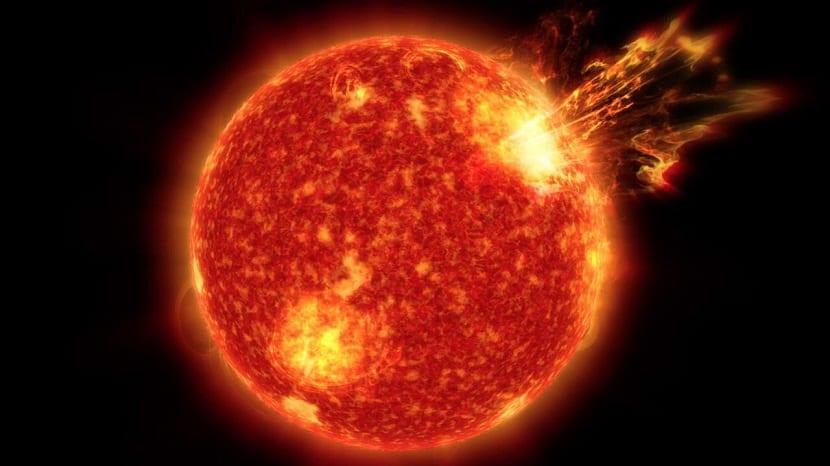 Llamarada solar erupción solar fulguración