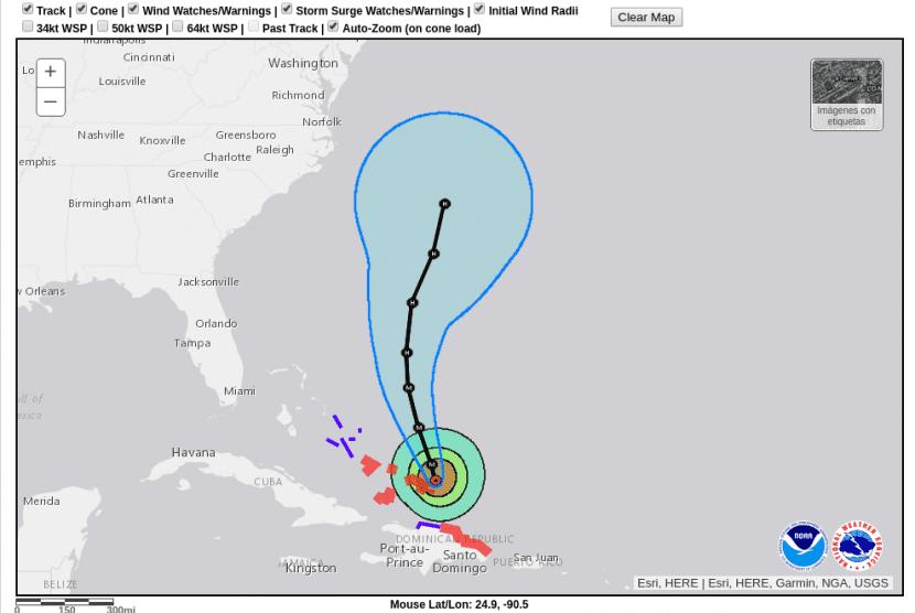 Trayectoria del huracán María