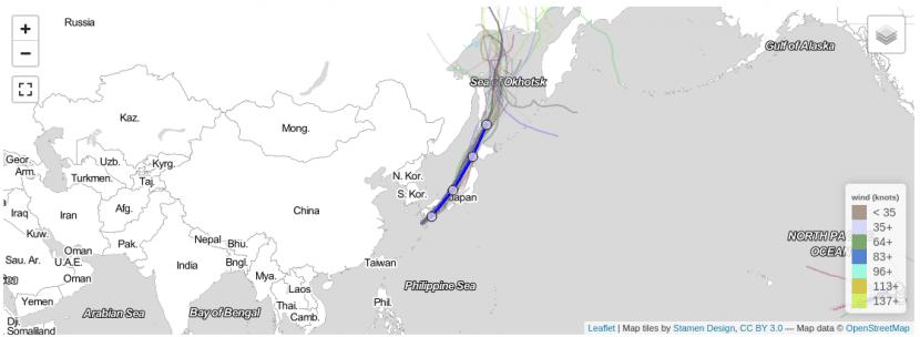 Trayectoria del tifón Talim