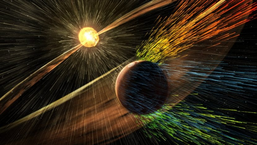 Viento solar impactando en la atmósfera