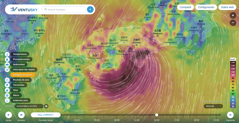 Tifón Talim sobre Japón